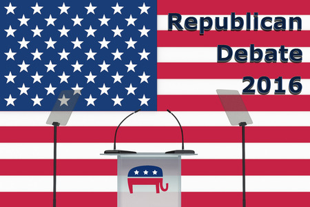 Render illustration of Republican Debate 2016 title, with donkey icon on podium front, and US flag as a background. Stock Photo