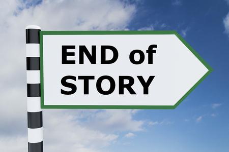 phrase novel: Render illustration of End of Story title on road sign Stock Photo