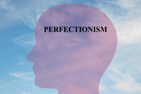 Render illustration of Perfectionism title on head silhouette, with cloudy sky as a background. Stock Photo