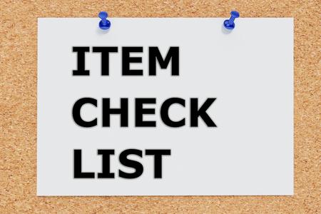 item list: Render illustration of Item Check List script on cork board Stock Photo