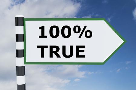 legitimate: Render illustration of Hundred Percent True title on road sign