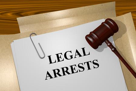 arrests: Render illustration of Legal Arrests title on Legal Documents