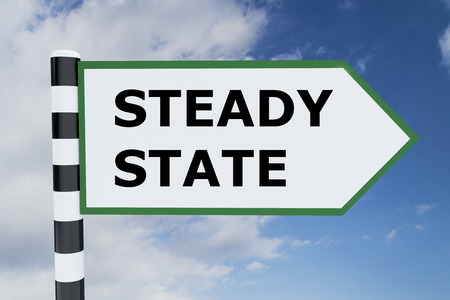 quo: Render illustration of Steady State title on road sign Stock Photo
