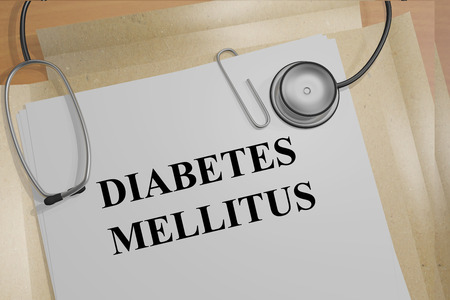 pathogenesis: Render illustration of Diabetes Mellitus title on medical documents