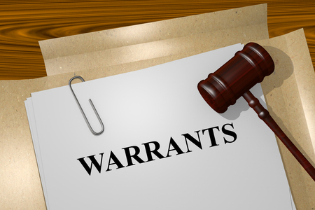 warrants: Render illustration of Warrants title on Legal Documents Stock Photo