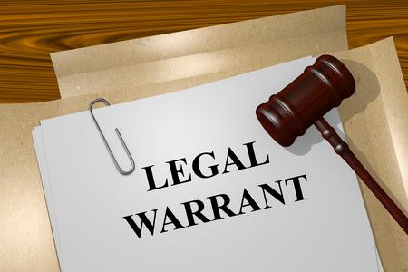 Rendu illustration du titre Warrant juridique sur les documents juridiques Banque d'images - 53793107