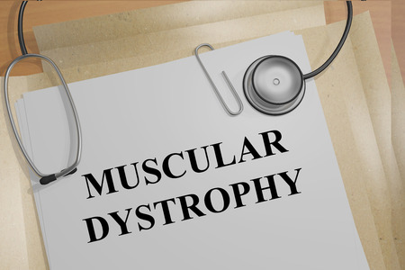 myopathy: Render illustration of Muscular Dystrophy title on medical documents