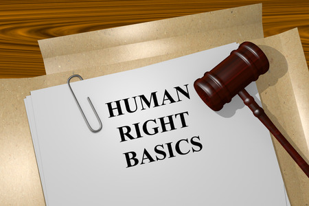 human right: Render illustration of Human Right Basics title on Legal Documents Stock Photo