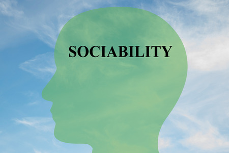 sociability: Render illustration of Sociability title on head silhouette, with cloudy sky as a background