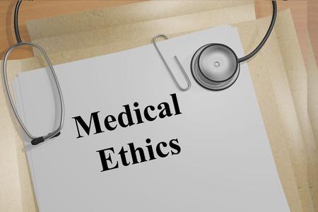 bioethics: Render illustration of Medical Ethics title on Medical Documents