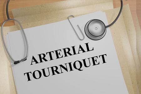 tourniquet: Render illustration of Arterial Tourniquet title on medical documents