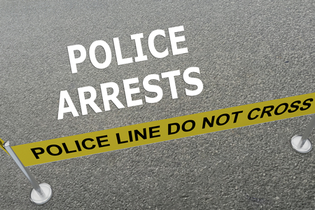 arrests: Render illustration of Police Arrests title on the ground in a police arena Stock Photo