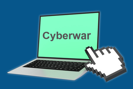 cyberwar: Render illustration of Cyberwar title with pointing hand icon pointing at the laptop screen.