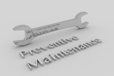 preventive: Render illustration of Preventive Maintenance title written in embossed letters, with a wrench.