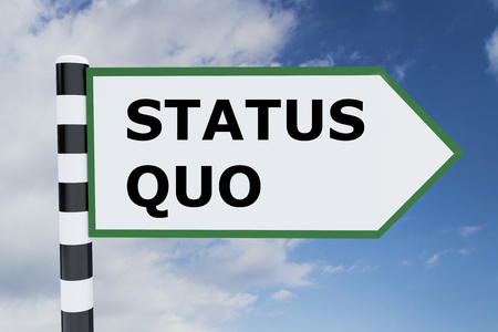 quo: Render illustration of Status Quo title on road sign Stock Photo