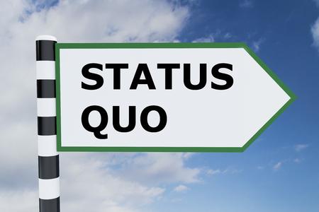Render illustration of Status Quo title on road sign Archivio Fotografico