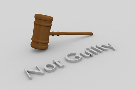 faultless: Render illustration of Not Guilty title written in embossed letters, with a judge gavel.