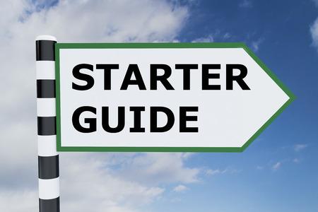 fresh graduate: Render illustration of Starter Guide title on road sign Stock Photo