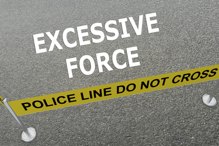 misconduct: Render illustration of Excessive Force title on the ground in a police arena