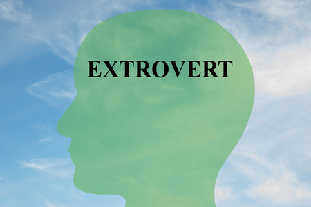 extrovert: Render illustration of Extrovert title on head silhouette, with cloudy sky as a background Stock Photo
