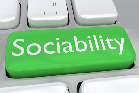 sociability: Render illustration of computer keyboard with the print Sociability on a green button