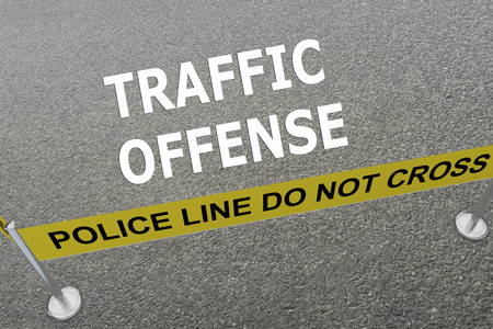 offenses: Render illustration of Traffic Offense title on the ground in a police arena