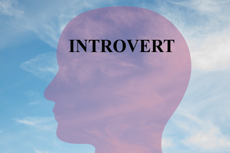 introvert: Render illustration of Introvert title on head silhouette, with cloudy sky as a background.