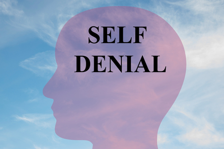 Render illustration of Self Denial title on head silhouette, with cloudy sky as a background.
