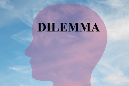 Render illustration of Dilemma title on head silhouette, with cloudy sky as a background. Stock Photo