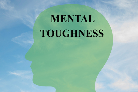 Render illustration of Mental Toughness title on head silhouette, with cloudy sky as a background