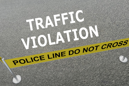 violation: Render illustration of Traffic Violation title on the ground in a police arena