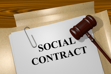 hands work: Render illustration of Social Contract title on Legal Documents
