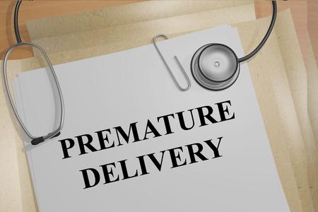premature: Render illustration of Premature Delivery title on medical documents Stock Photo