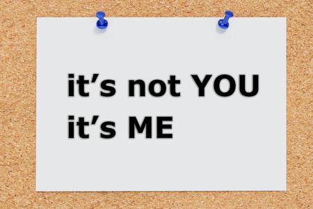 Render illustration of Its not You Its Me script on cork board 版權商用圖片