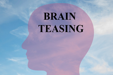 mistreatment: Render illustration of Brain Teasing title on head silhouette, with cloudy sky as a background.