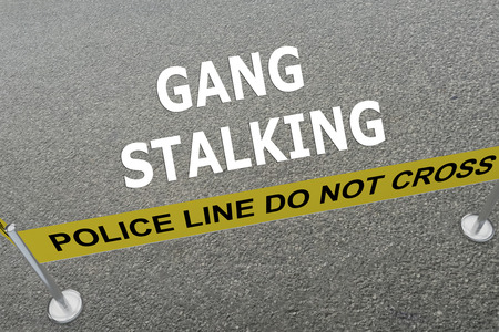 Render illustration of Gang Stalking title on the ground in a police arena