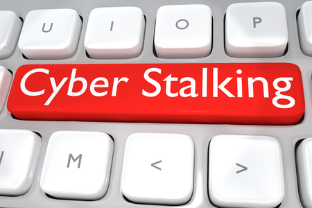 harass: Render illustration of computer keyboard with the print Cyber Stalking on a red button Stock Photo
