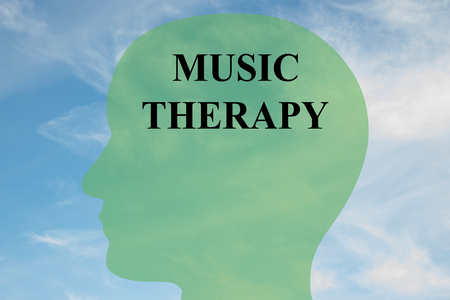 music therapy: Render illustration of Music Therapy title on head silhouette, with cloudy sky as a background