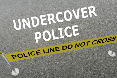undercover: Render illustration of Undercover Police title on the ground in a police arena
