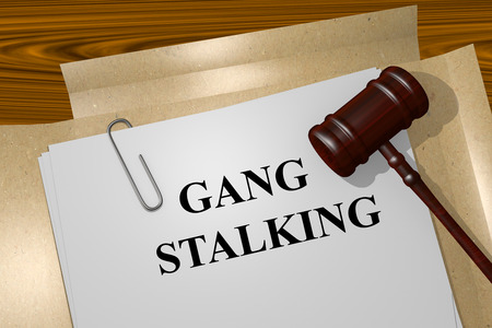 syndicate: Render illustration of Gang Stalking title on Legal Documents