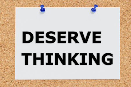 justification: Render illustration of Deserve Thinking script on cork board