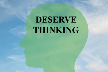 obligated: Render illustration of Deserve Thinking title on head silhouette, with cloudy sky as a background