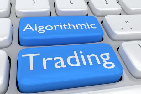 2 つの隣接する淡い青色のボタンのプリント アルゴリズム取引のコンピューターのキーボードの図をレンダリングします。 写真素材