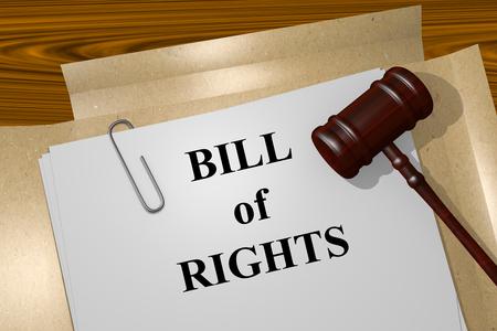 Hacer la ilustración de la Carta de Derechos del título en documentos jurídicos Foto de archivo