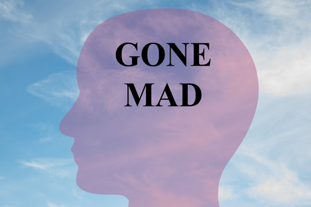 maniacal: Render illustration of Gone Mad title on head silhouette, with cloudy sky as a background. Stock Photo