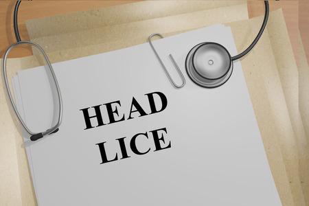 piojos: Ilustraci�n de procesamiento de t�tulo piojos de la cabeza de documentos m�dicos Foto de archivo