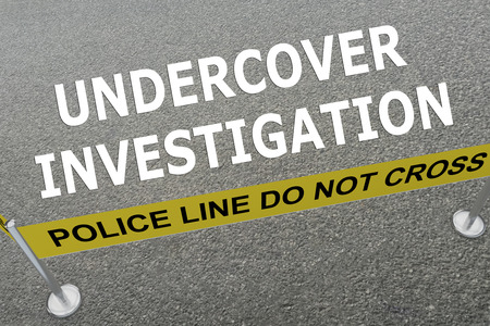 undercover agent: Render illustration of Undercover Investigation title on the ground in a police arena Stock Photo