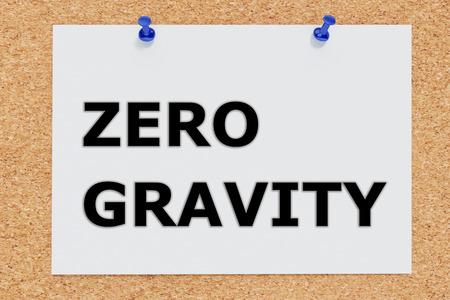zero gravity: Render illustration of Zero Gravity script on cork board