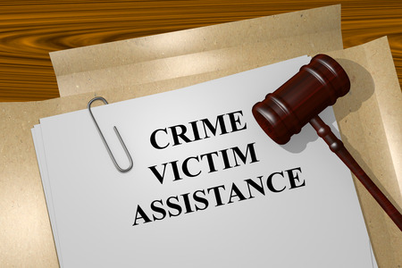 cyber attacks: Render illustration of Crime Victim Assistance title on Legal Documents Stock Photo