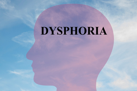overstress: Render illustration of Dysphoria title on head silhouette, with cloudy sky as a background.